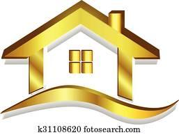 Gold house logo 3D vector