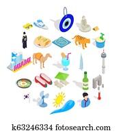 Hospice icons set, isometric style