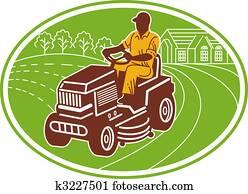 male gardener riding lawn mower set inside an oval.