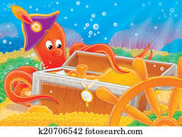 Octopus and treasure