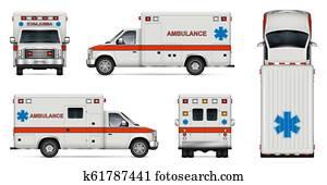 realistisch, krankenwagen, auto, vektor, abbildung