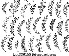 Seamless pattern with hand drawn leaves and branches.