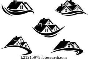 Set of silhouetted real estate icons