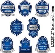 Set of vintage silver labels