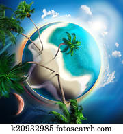 tropical small planet with coconut trees