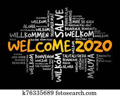 WELCOME 2020 word cloud in different languages