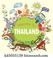 Welcome to Thailand . Set Thai color vector icons and symbols