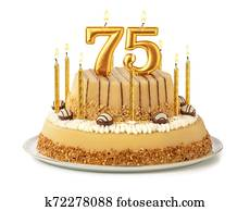 Festive cake with golden candles - Number 75