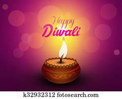 Greeting postcard of Diwali