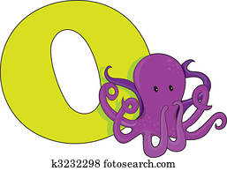 Letter O with an Octopus
