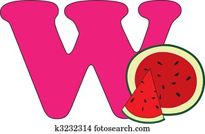 Letter W with a Watermelon