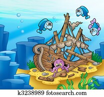Shipwreck with octopus and fishes