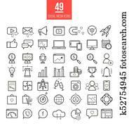 soziales, medien, marketing, modernes, linie, heiligenbilder, set., smm, hell, vektor, symbole