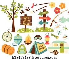 camping hiking icons set