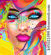 Face of beautiful woman in colorful 3d render.