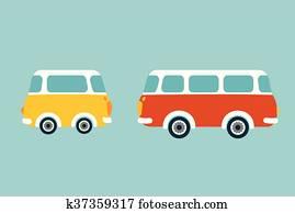 früher, bus., flache, vektor, concept.