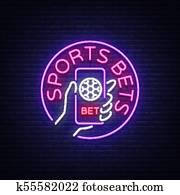 sport, wetten, gleichfalls, a, neon, zeichen., design, template,, neon, stil, logo,, hell, banner,, nacht, werbung, für, dein, projects,, smartphone, in, dein, hand,, online, wetten, auf, football., vektor, abbildung