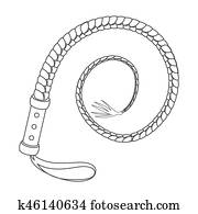 Whip icon in outline style isolated on white background. Rodeo symbol stock bitmap illustration.