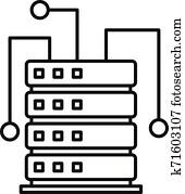 Ai server rack icon, outline style
