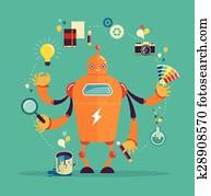 Robot graphic designer - creative thinking