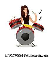 Young woman musician sitting and playing drums vector illustration