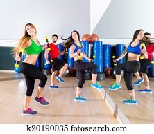 zumba, tanz, cardio, leute, gesellschaft, an, gesundheit, sportraum
