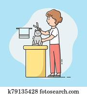 Animal Hair Salon, Styling and Grooming Shop. Woman Haircut Cat on the Table for Grooming in the Beauty Salon. Final Shearing Of a Cat s Hair With Scissors. Cartoon Linear Outline Vector Illustration