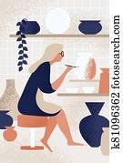 Enthusiastic woman decorating pot working at ceramic studio vector flat illustration. Smiling female enjoying creative hobby at pottery workshop. Ceramist person painting handmade crockery use brush