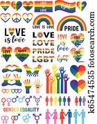 Love is love, rainbow flag, lgbt pride, vector set