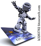 Robot surfing on credit card