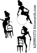 silhouetten, von, perfomance, burleske, künstler