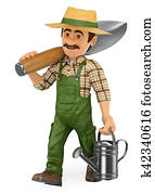 3D Gardener walking with a huge shovel and a watering can