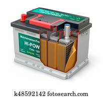 Cross section of car battery with abstract label