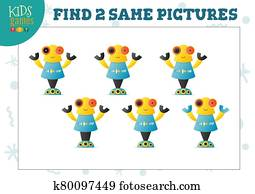 Find two same pictures kids puzzle vector illustration.