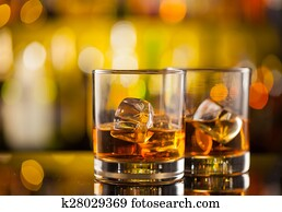 Whiskey drinks on bar counter