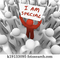 I Am Special Man Holding Sign Standing Out Crowd Different Uniqu