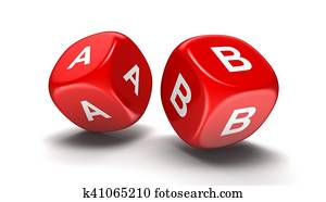 Dices with letters A, B