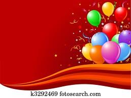 luftballone, auf, welle