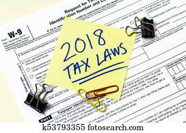 W9 2018 Tax Laws Concept