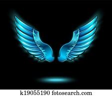 blau, glühen, engelsflügel