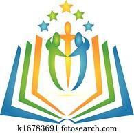 buch, und, studenten, gemeinschaftsarbeit, logo
