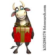 Bull cartoon character with Giftbox