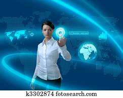Future business solutions businesswoman in interface
