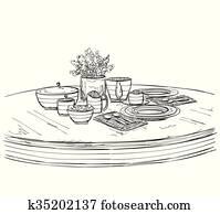Gedeckter tisch, set., wochenende, fruehstueck, oder