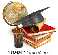 Graduation cap, diploma, stack of books, globe, and various colour pencils in cup. Conceptual illustration. Isolated on white background. 3d render