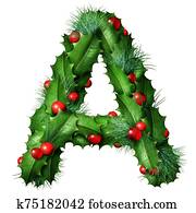 Holiday Font Letter A Isolated
