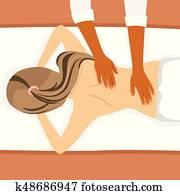 junge frau, annahme, rückenmassage, in, heilbad, salon