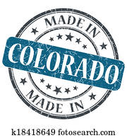 Made In Colorado Blue Round Grunge Isolated Stamp