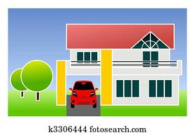 single family home with car