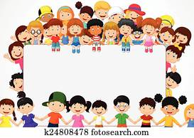 Crowd children cartoon with blank s